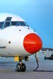 Closeup of red aircraft nose Stock Photo