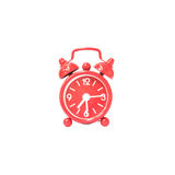 Closeup red alarm clock display seven hours and fifteen minutes on screen clock isolated on white background with clipping path Stock Image