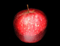 Closeup red apple isolated on black. The Closeup red apple isolated on black Stock Image