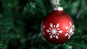 Closeup of red bauble hanging on decorated Christmas and New Year tree.  stock photos