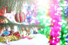 Closeup of red bauble hanging from a decorated Christmas tree Stock Photos