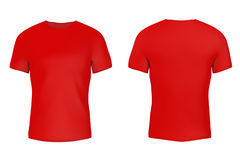Closeup Red Blank T-Shirt with Empty Space for Yours Design. 3d. Closeup Red Blank T-Shirt with Empty Space for Yours Design on a white background. 3d Rendering vector illustration