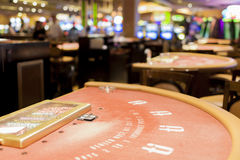Closeup of Red Casino Gaming Table in Las Vegas City Stock Photo