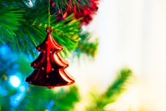 Closeup of red chrismas bauble Royalty Free Stock Images