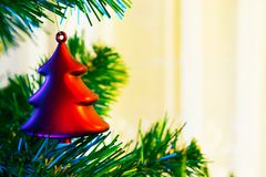 Closeup of red chrismas bauble Royalty Free Stock Photos