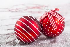 Closeup on red Chrismas decorations Royalty Free Stock Photo