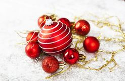 Closeup on red Chrismas decorations Royalty Free Stock Images