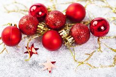 Closeup on red Chrismas decorations Stock Photos