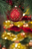 Closeup of red Christmas balls on colored background Royalty Free Stock Photo