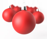 Closeup red classic christmas balls Royalty Free Stock Images