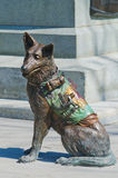 Closeup of Red Cross Soldier Dog. Side shot of the statue of a Wartime Red Cross medical dog showing his first aid kit backpack in Confederation Square Ottawa Royalty Free Stock Photos