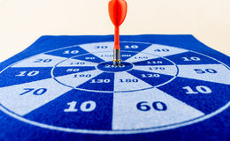 Closeup of red dart on board. Business Concept. Strategy. Goal. Royalty Free Stock Photo