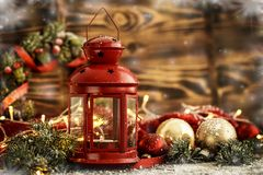 Red lantern and golden Christmas balls Royalty Free Stock Photos