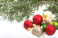 Closeup of Red and Green Christmas Ornaments Royalty Free Stock Photos