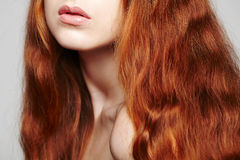 Closeup of red headed woman. Closeup of beautiful red headed woman Royalty Free Stock Image