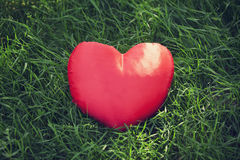 Closeup of a red heart on the grass Royalty Free Stock Photography