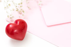 Closeup of a red heart with pink envelope Royalty Free Stock Images
