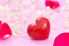Closeup of red heart and white flowers Stock Photography