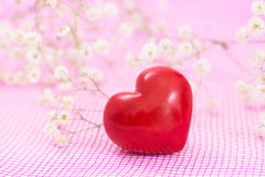 Closeup of red heart and white flowers Royalty Free Stock Image