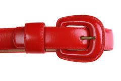 Closeup of red leather belt on white background Royalty Free Stock Image