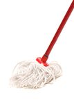 Closeup of red mop for cleaning. Royalty Free Stock Photos