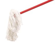 Closeup of red mop for cleaning. Stock Photo