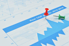 Closeup of red pin on financial graph, Business concept, target Royalty Free Stock Photography