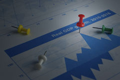 Closeup of red pin on financial graph, Business concept, target Stock Images