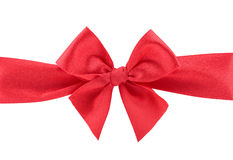 Closeup red ribbon bow isolated on white background Royalty Free Stock Photography