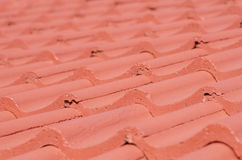 Closeup red roof tiles blurred background Royalty Free Stock Images