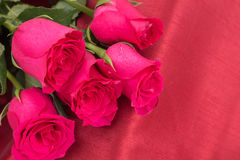 Closeup of red roses bouquet, on red fabric Royalty Free Stock Photos