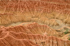 Closeup of red sand formation of Tatacoa desert in Colombia Royalty Free Stock Photos