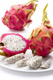 Closeup Of Red-Skinned Pitaya And Its Creamy Pulp Stock Image