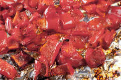 Closeup red sweet peppers roasted Stock Image