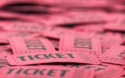 Closeup of Red Tickets Stock Images