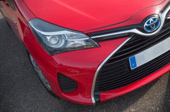 Closeup of red Toyota Yaris Stock Images