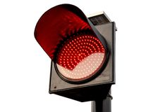 Closeup red Traffic lights isolate on white background