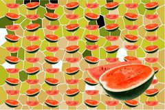 Water melons slice on green abstract background. Closeup red water melons slice on green abstract background vector illustration