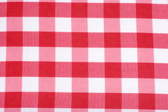 Closeup Red and white tablecloth Stock Photos