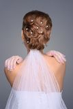 Closeup of redhead bride hairstyle in studio Royalty Free Stock Photos
