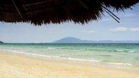 Closeup Reed Beach Umbrella mot havshimmelkullen arkivfilmer