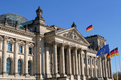 Closeup of Reichstag building in Berlin, Germany Royalty Free Stock Images