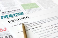 Closeup of Resume with Pen Stock Images