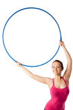 Closeup of rhythmic gymnastic woman with hoop up Stock Images