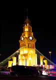 Closeup of Riffa clock tower on 42nd National day celebration at Bahrain Stock Images