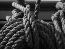 Closeup of rigging of a traditional tallship or sailboat Royalty Free Stock Image