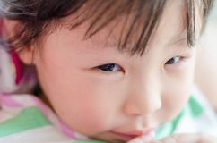 Closeup right eye of little girl. Closeup right eye of little asian girl stock photography