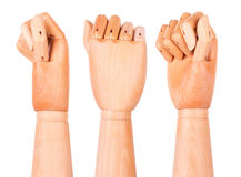 Closeup of right wooden hand - clenched fist Stock Photo