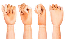 Closeup of right wooden hand - clenched fist Royalty Free Stock Photos