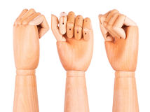 Closeup of right wooden hand - clenched fist Stock Photos